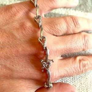 Jewelry - Sterling and diamond heart linked bracelet